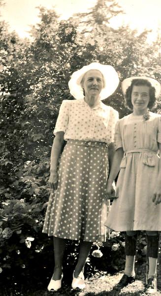 Mary Von Arx with niece Irene Von Arx on day of Irene's confirmation, June 1st., 1941.