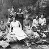 Back:  left to right:  Bertha Von Arx and Tillie Lorenz<br /> Front row:  Claudine Albrecht, Vernie Von Arx, Mary Von Arx, Kate Boma, Marie Langen, ________,  and Sophie Truempi is at the end.