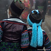 Two Hmong girls in traditional dress in Sapa, Vietnam in January 2012