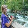 Rebecca photographing Class III Nantahala Falls