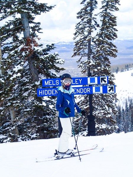 Rebecca at Mel's Alley, her favorite blue run at Park City.