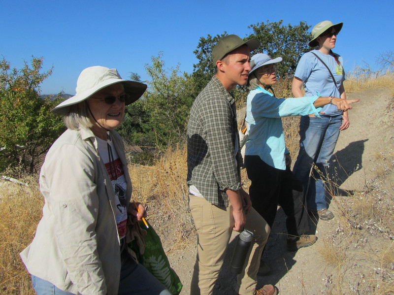 Lesley points out penstemon and buckwheat near the Sutherland gate.