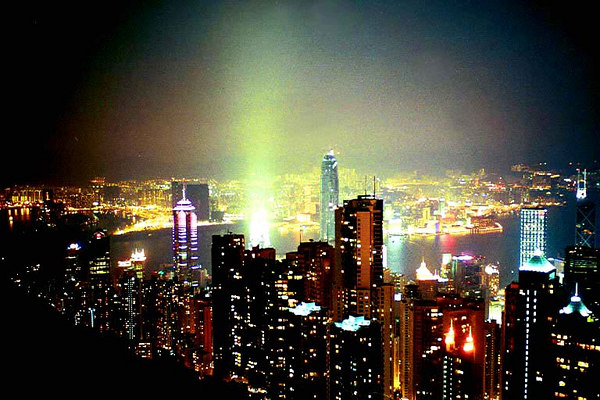 One of the most exciting skylines in the world- Hong Kong from Victoria Point. January 14th, 2003