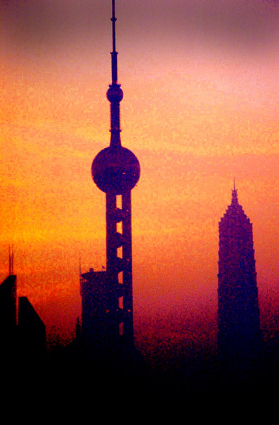 Dusk, through pollution, Shanghai, China- Canon EOS 650.