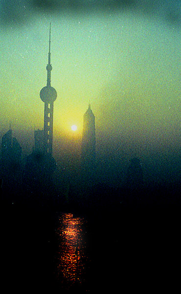 Dawn (through pollution), Shanghai, China-