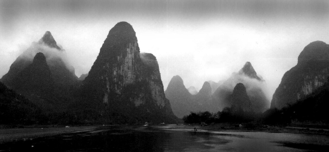 Mountains Guilin, China, Black and White-
