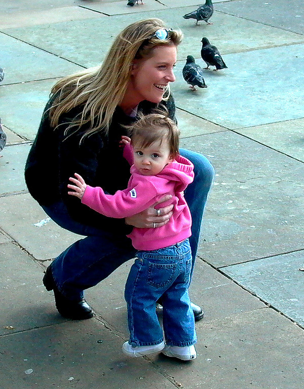 Mother and child Trafalgar Square, London England- Leica Digilux 1