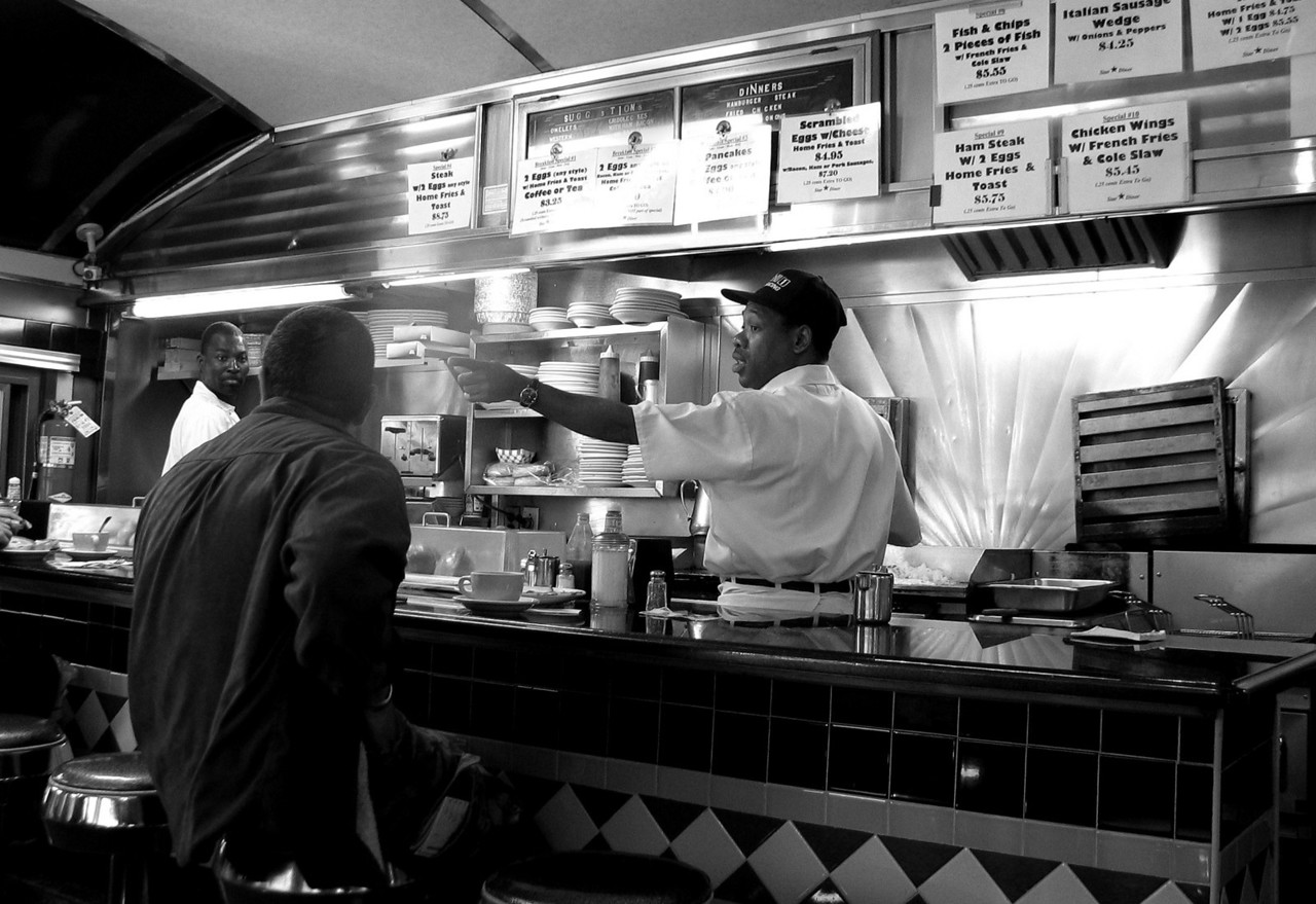 """Diner- White Plains, New York. (From the outside it looked like any restaurant- but when you sit inside it says: """"Diner!"""")"""