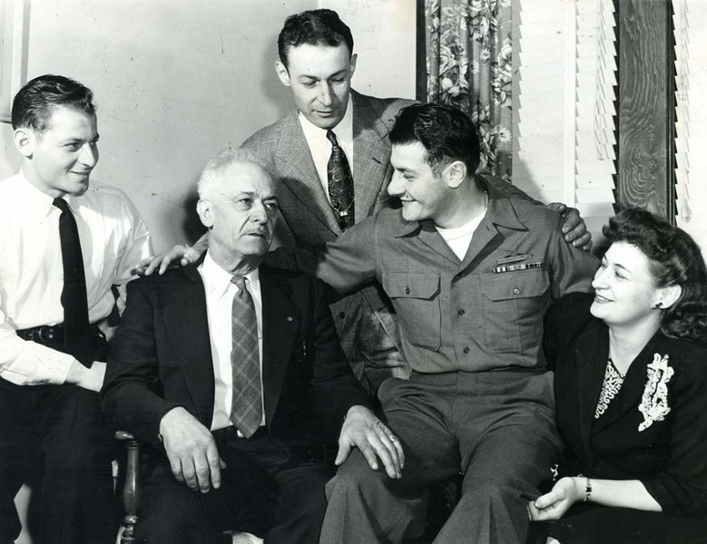 Mike Colalillo with family, 1945.