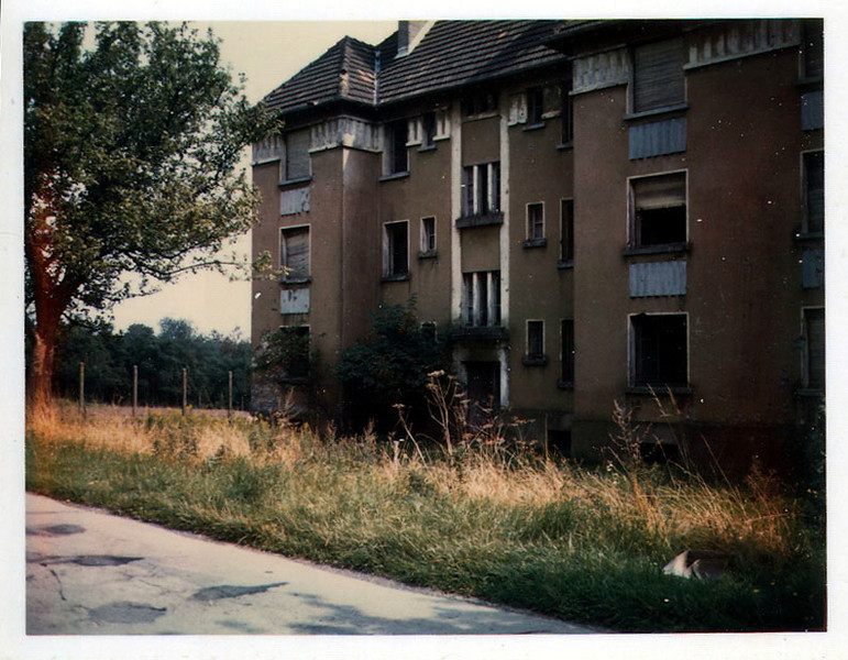 Barracks building at French Garrison for fortress at Bitche, near Fort Freudenberg (Lorraine/Moselle), France, looking north from Highway D38, west of Bitche.  Photo taken August 1968.  This building gone as of April 2011.