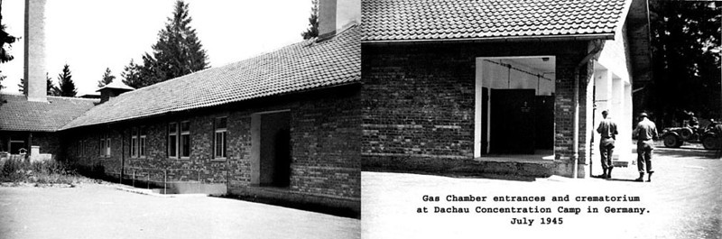 The creamatorium at Dachau Concentration Camp in Germany, Summer 1945.