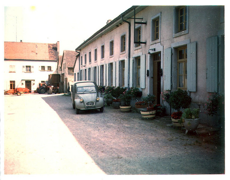 Courtyard, Heiligenbronn Farm, north of Enchenberg, Lorraine (Moselle), France.  Door to Cannon Company/399th Headquarters Platoon quarters at right (photo taken August 1968).