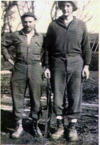 Ed Burzycki (left) and Dad, Heiligenbronn Farm, France, Winter 1945.