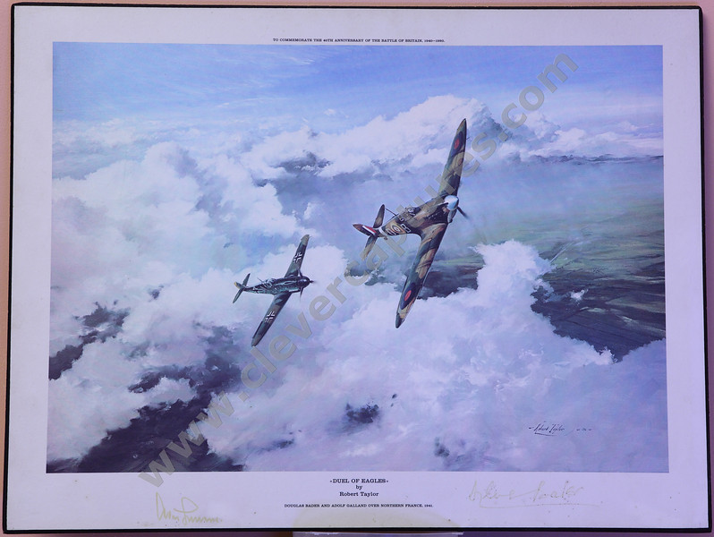 DUEL OF EAGLES by Robert Taylor - Original signatures (in ink) of Group Captain Sir Douglas Bader CBE, DSO*, DFC* and General Adolf Galland.