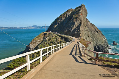 Point Bonita. Point Bonita is a sharp rocky peninsula that extends into the Pacific Ocean from the Marin Headlands.
