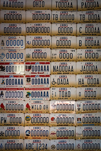 This is probably 15% of the license plates.  There are numerous themes and groupings, some from other states and countries.  Steve Wagner knows the history of older Ohio plates, even which prisons used what fonts and colors!