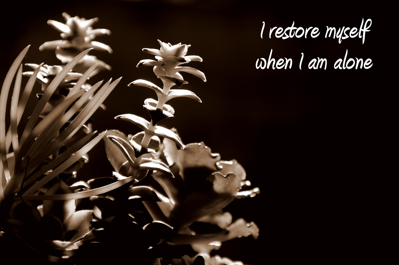 I restore myself when I am alone