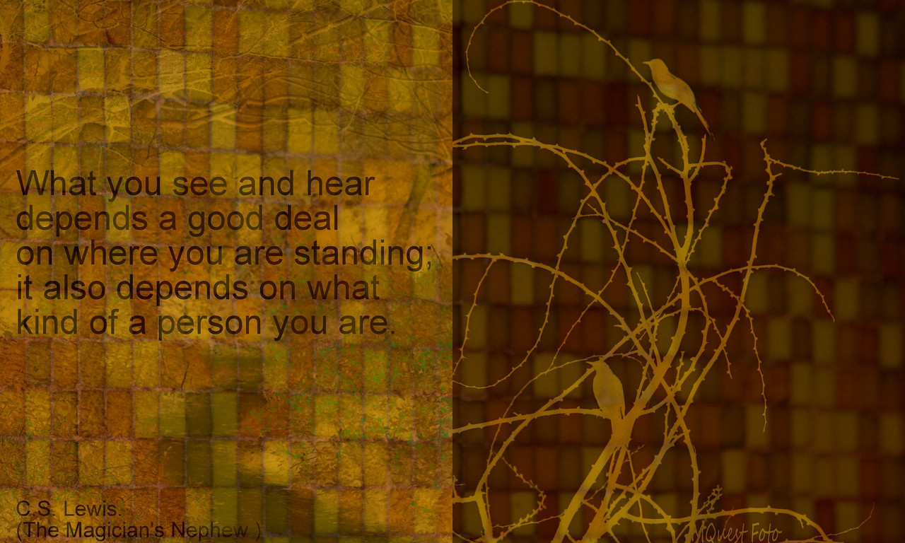 What you see and hear depends a good deal on where you are standing; It also depends on what kind of person you are