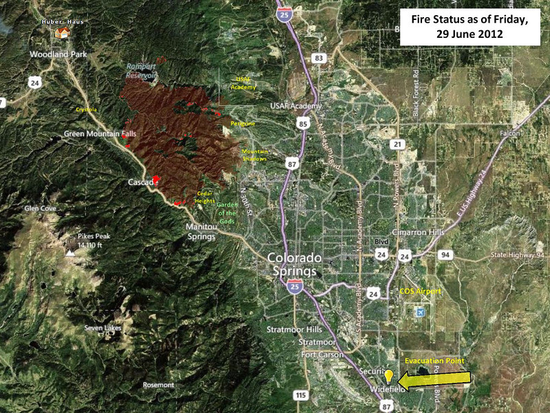 Waldo Fire perimeter map as of the morning of 29 June 2012.  The brighter red areas are the small growth that occurred on the 28th, which was not much at all.   I've included the names of the CSprings subdivisions that were impacted by the fire, as well as some of the other points of interest in the area.