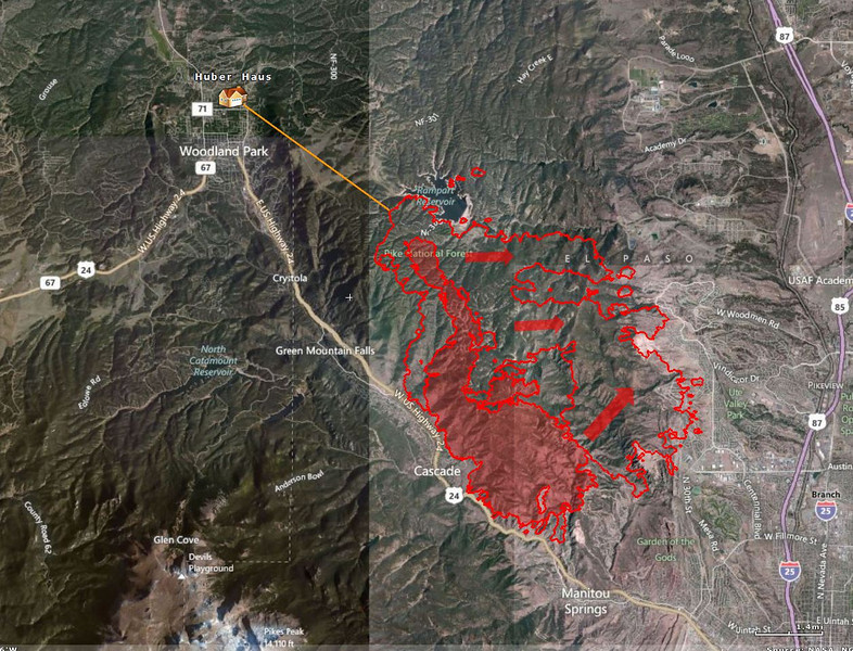 Updated fire perimeter.  Now 4 miles from our home, but winds have been moving the fire the other direction.