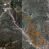 Fire boundary and attempted fire break - 25 June 2012 - 4.6 miles away