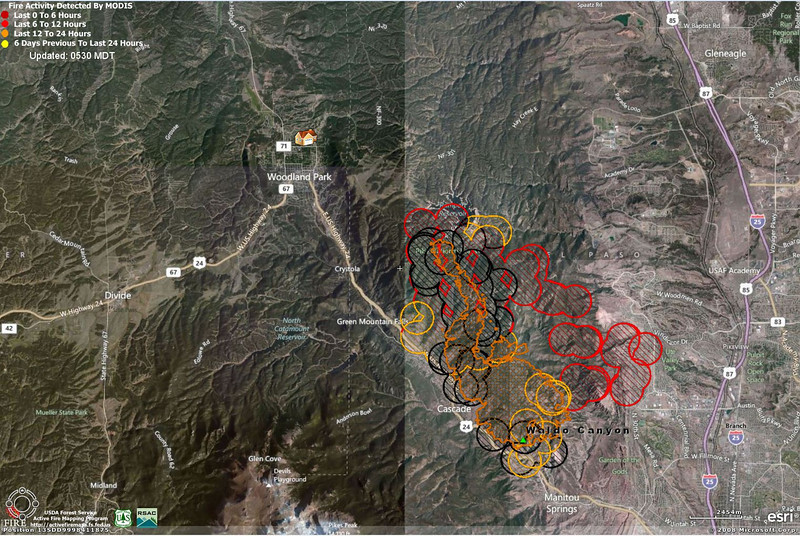 Updated Map - 27 June 2012:  Very rough estimate of fire activity, based on satellite information.