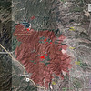 """Waldo Canyon Fire perimeter - 30 June 2012.   The fire continues to burn on the interior, with small areas burning around the containment lines.  We """"de-evacuated"""" back to Woodland Park on Sunday the 1st of July, as they dropped the mandatory evacuations in our area and they also opened US 24 back up."""