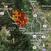 "Preliminary fire update map - using the HMS Satellite ""hot spot"" data.  The yellow dots outside yesterdays fire perimeter show the small growth.  EP-1 is our current ""Evacuation Point""  - where we are staying."