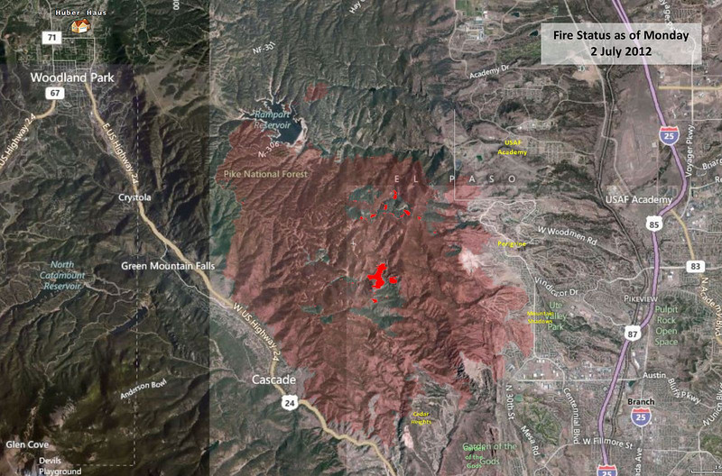 Waldo Canyon Fire perimeter - 1 July 2012.  The fire is still burning in the center area, with a few small fires along the perimeter.
