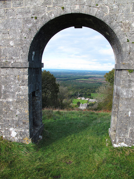 Looking through the main archway on Grange Arch down through the strip kept clear of trees to the main house, Creech Grange.