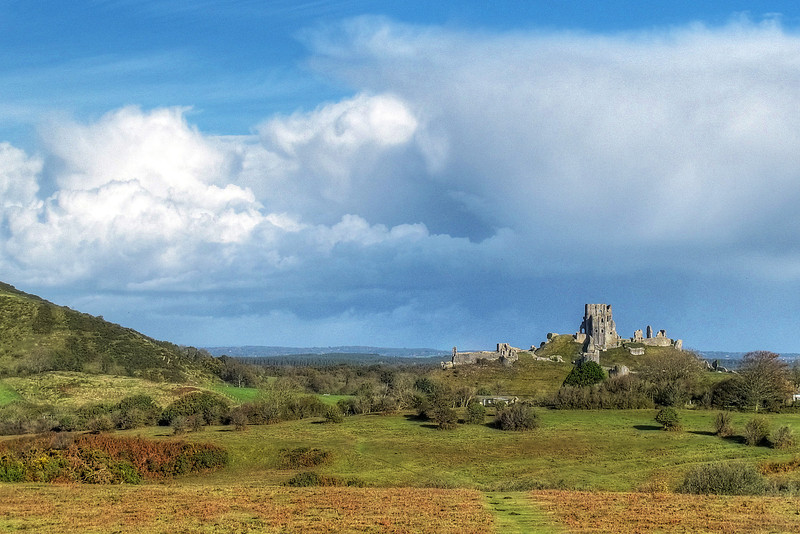 Corfe Castle from the fields to the South of the Common.