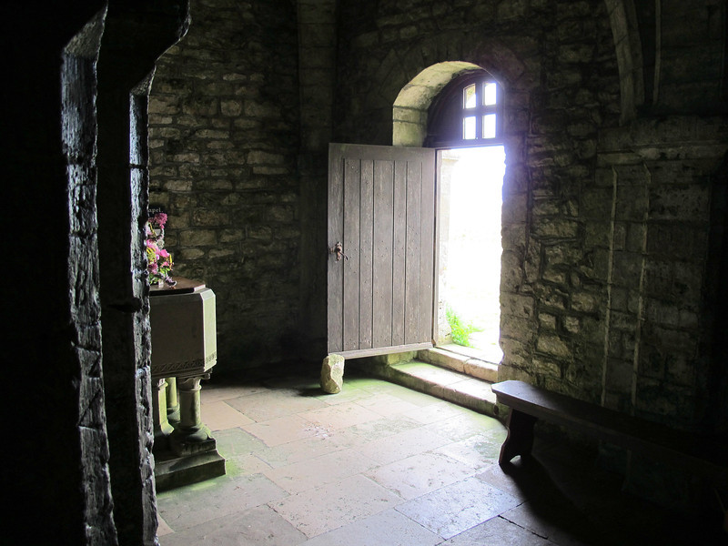 """Inside the Norman St. Aldhelm's Chapel, St. Aldhelm's Head.   For more info see <a href=""""http://tiny.cc/dwcgw"""">http://tiny.cc/dwcgw</a><br /> There are graffiti from the 1600s on the column nearest camera."""
