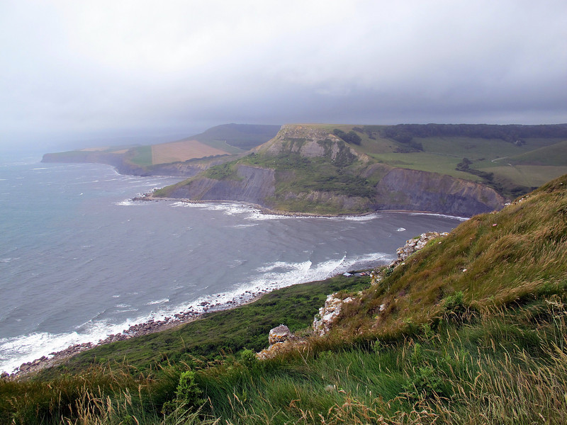 Chapman's Pool and Houns-tout cliff with Swyre Head beyond, from St Aldhelm's Head.