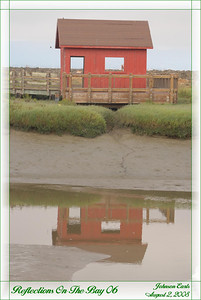 Reflections on the Bay 06  A small picnic building reflected in the Newark Slough.  Newark Slough, Don Edwards San Francisco Bay National Wildlife Refuge, Fremont California, 2 August 2008