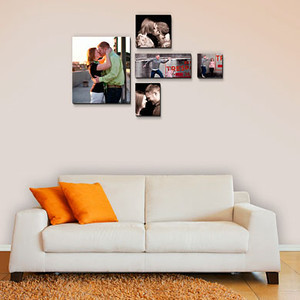 """<B>Wall Design:</B>  5 pieces shown - overall size 48"""" x 40"""" includes:  (1) 16"""" x 20"""" (1) 20"""" x 10"""" (1) 14"""" x 14"""" (1) 11"""" x 14"""" (1) 10"""" x 10""""    <CENTER> <a href=""""http://www.timesmartimages.com/Other/Resources/products/16107777_QtmkE""""><font size=-1.5><font color=""""#82670B"""">Measurements recommended for Float Wraps,  Canvas Gallary Wraps  and Standouts. </CENTER>"""