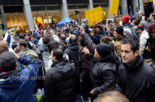Protestors and Police class near Wall Street in New York, New York on Nov. 17, 2011.