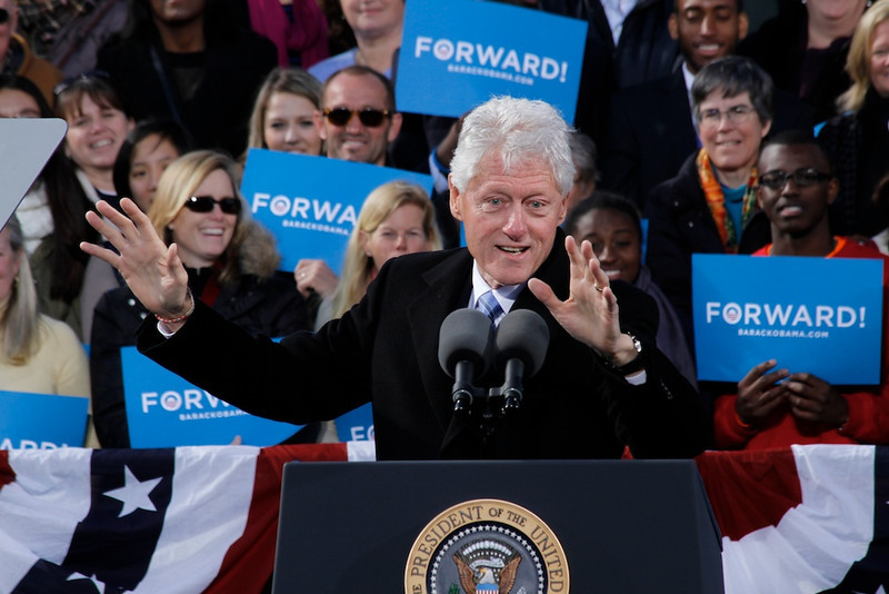 President Barack Obama and former President Bill Clinton at a campaign event on Sunday morning in Concord, New Hampshire on Nov. 4th, 2012. © Hyunah Jang