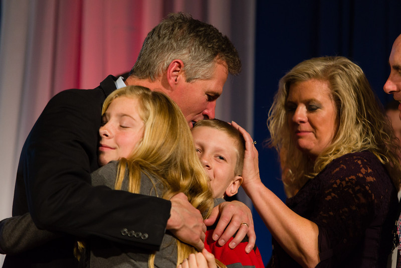 November 6, 2012 - Incumbent Senator Scott Brown hugs supporters on-stage after delivering his concession speech at the Park Plaza Hotel on election night. Scott lost his Senate race to Elizabeth Warren. Photo/Christopher Weigl