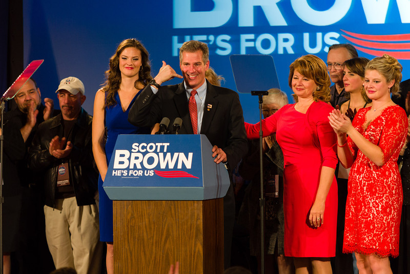 November 6, 2012 - Incumbent Massachusetts Senator Scott Brown jokes with the audience during his concession speech to the packed ballroom of the Park Plaza Hotel on Tuesday. Brown lost the race to Democrat Elizabeth Warren. Photo/Christopher Weigl