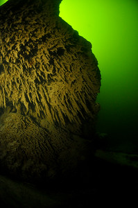 Sulfur bacteria clinging to the bottom of a ledge at 47 feet. The green waters of the surface glowing in the background.