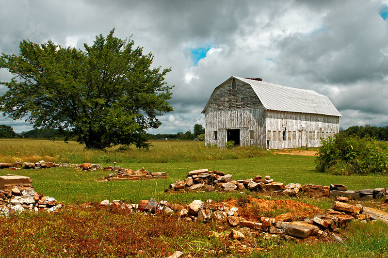 Chancellorsville First Day Battle - Leitch Farmhouse Foundation and Barn