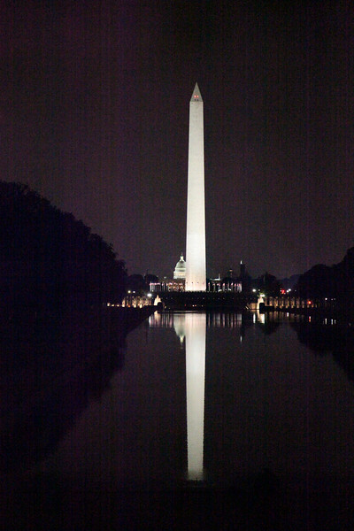 Washington Monument, World War II Memorial, & Capitol Building in the Reflecting Pool -- National Mall