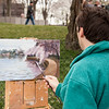Painting the blossoms at the Tidal Basin
