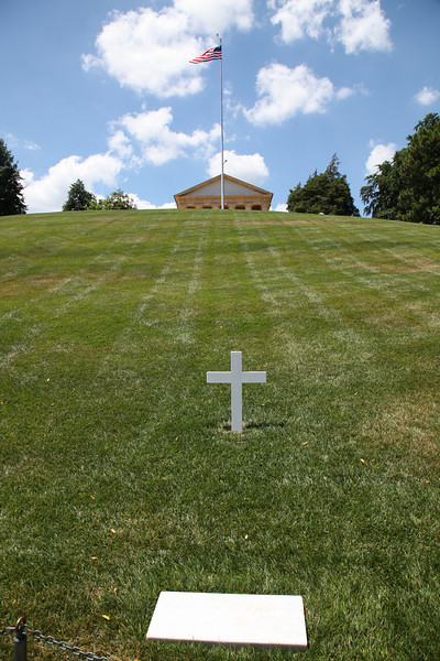Grave of Robert Kennedy below the home of Robert E. Lee at Arlington National Cemetery