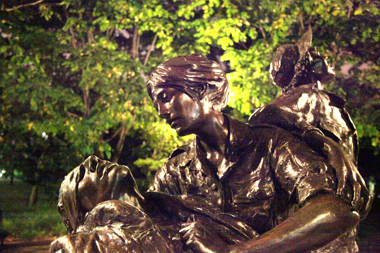 Vietnam Women's Memorial at night -- National Mall.  Handheld high ISO shot with no flash