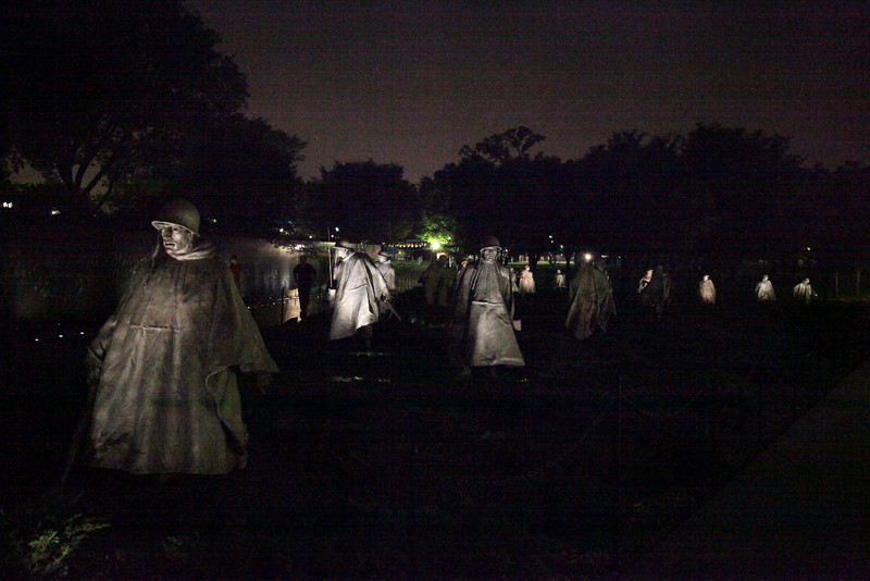 "Korean War Memorial -- National Mall.  ""When the sun goes down, the ghosts come out."""