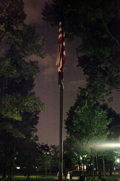 US Flag near the Vietnam Memorials -- National Mall.  Handheld high ISO night shot with no flash.