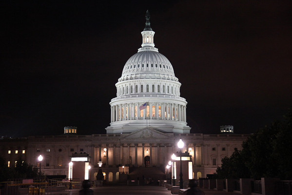 Rear of US Capitol Building at night