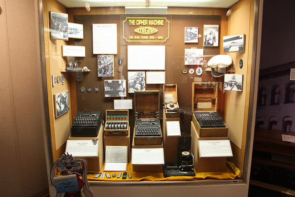 A Collection of Enigma Code Machines from World War II -- National Cryptologic Museum, Campus of National Security Agency.