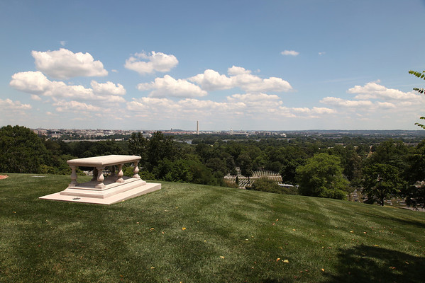 The grave of Pierre L'enfant at Arlington National Cemetery overlooking the skyline of the city he laid out.